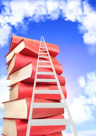Bigstock-Books-and-ladder-on-background-48570479